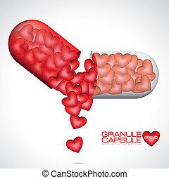 kärlek, kapsel, illustration
