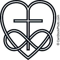 kärlek, kombinerade, begreppsmässig, kors, gud, oändlighet, logo, design, underteckna, vektor, hjärta, odödlig, symbol., kristen, slinga, skapande