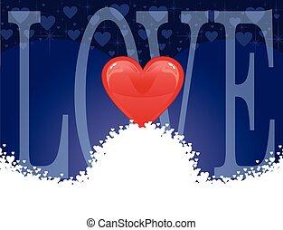 kärlek, -, kort, hjärta