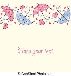 kärlek, kort, med, hjärtan, och, umbrella., retro designa