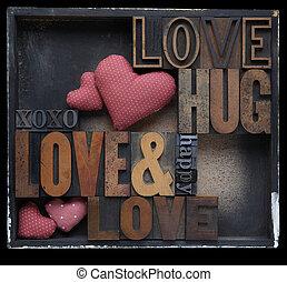 kärlek, kram, lycklig