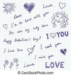 kärlek, meddelanden, doodles