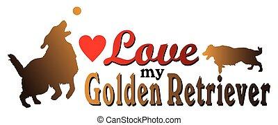 kärlek, min, guldgul apportör