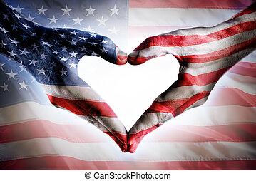 kärlek, och, patriotism, -, usa sjunker