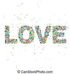 kärlek, ord, bestå, av, färgad, partiklar