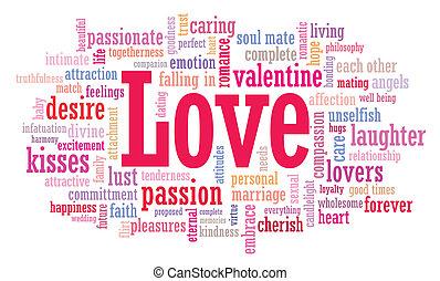 kärlek, ord, moln, illustration