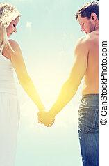 kärlek, par, herre och kvinna, gårdsbruksenheten räcker, på, a, sky