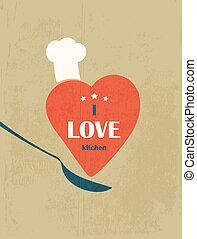 kärlek, poster., retro, kitchen.