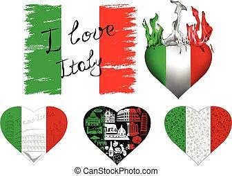 kärlek, sätta, italien