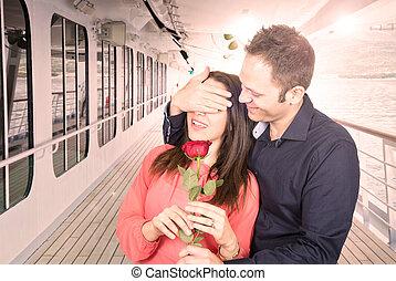 kärlek, shipman, däck, ro, kryssning, överraskning, skepp, märken, röd, man