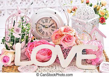 kärlek, sjabbig, romantisk, chic, dekoration