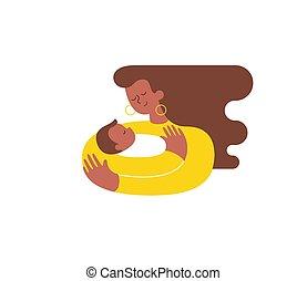 kärlek, sjukvård, isolated., nymodig, krama, son, nyfödd, flicka, henne, ung, him., uttrycka, kvinna, mor, baby, kel, pojke, illustration., african-american, vektor, omfamna, care., eller