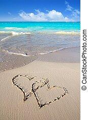 kärlek, skriftligt, sand, hjärtan, västindisk strand