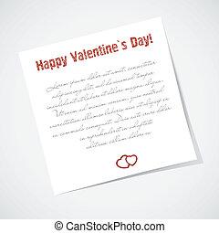 kärlek, valentinkort, text., klistrig anteckning, bakgrund.