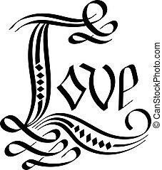 kärlek, vektor, lettering., hand