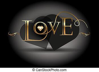 kärlek, vektor, poster., gyllene, calligraphic