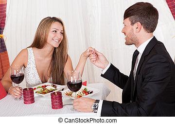 kärleksfullt par, avnjut, a, romantiskt mål