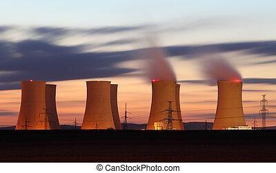 kärnkraftverk, av, solnedgång