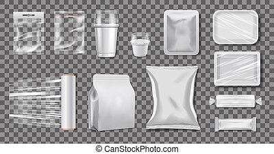 kästen, vektor, polyäthylen, realistisch, packaging., satz, cellophan, mockup, durchsichtig, plastik, cups.