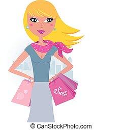 käufer, city:, blond, shoppen