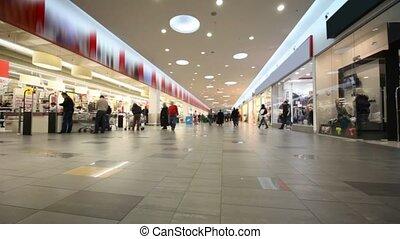 käufer, gehend, groß, einkaufszentrum, laden