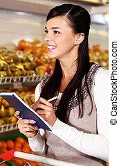 käufer, in, supermarkt