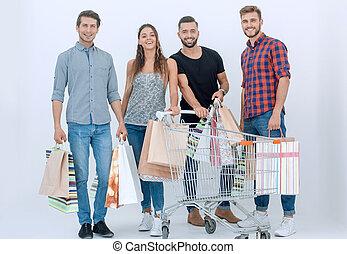 käufer, shoppen, glücklich, säcke, gruppe