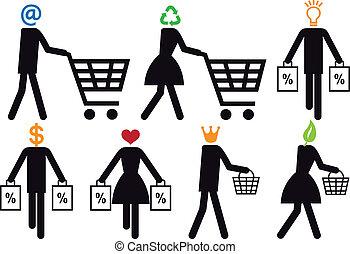 käufer, vektor, satz, klug, ikone