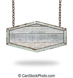 kæde, af træ, isoleret, tegn, baggrund., hængende, hvid