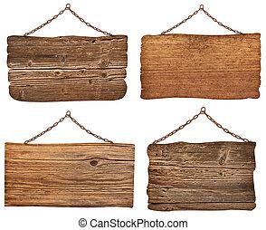 kæde, af træ, tegn, baggrund, hængende, meddelelse