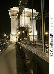 kæde bro, detalje, af, nat