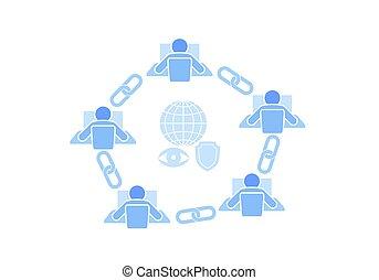kæde, punkt, tegn, teknologi, design., blå, firmanavnet, tråd, netværk, concept., blockchain, internet, lejlighed, illustration branche, forbindelsen, ikon, hyperlink, sammenhænge, vektor, forbundet, garanti, fremtidsprægede