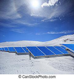 kék, álló, horizont, tél, modern, ég, hó, felhős, mező, fényes, állomás, sunlight., nap-, alatt, fehér, fanyergek, dombok