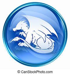 kék, állatöv dragon, ikon