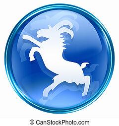 kék, állatöv, goat, ikon