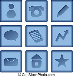kék, állhatatos, ügy icons, elszigetelt, gombok, háttér., vektor, fehér