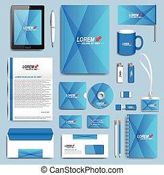 kék, állhatatos, ügy, modern, vektor, tervezés, irodaszer, közös személyazonosság, templates.