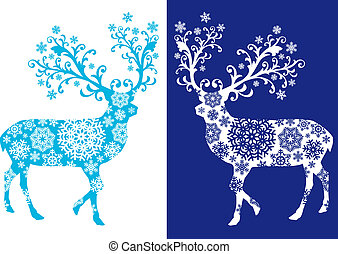 kék, állhatatos, chirstmas, őz, vektor