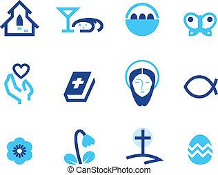 kék, állhatatos, ), (, elszigetelt, kereszténység, fehér, húsvét, ikon