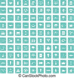 kék, állhatatos, grunge, ikonok, energia, nap-, 100