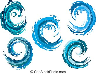 kék, állhatatos, kerek, tenger, lenget