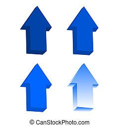 kék, állhatatos, nyíl, 3