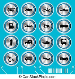 kék, állhatatos, szállítás, ikonok