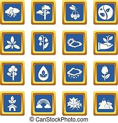 kék, állhatatos, természet, ikonok, vektor, derékszögben