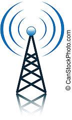 kék, árboc, antenna, aláír