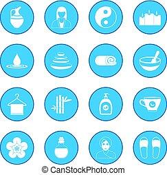 kék, ásványvízforrás, ikon