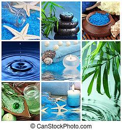 kék, ásványvízforrás, kollázs