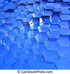 kék, áttetsző, hatszögek