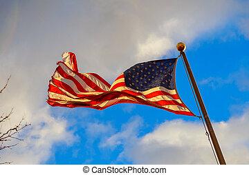 kék ég, amerikai, ellen, hullámzás, háttér., lobogó