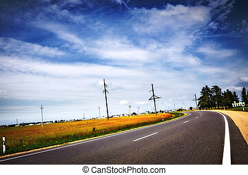 kék ég, autóút, felhős, alatt